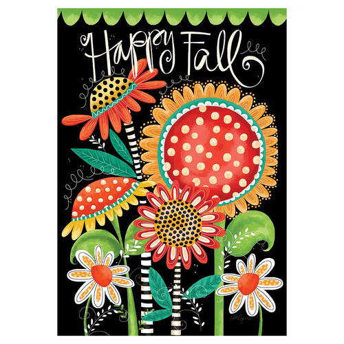 Fall Banner Flag - Happy Fall Flowers