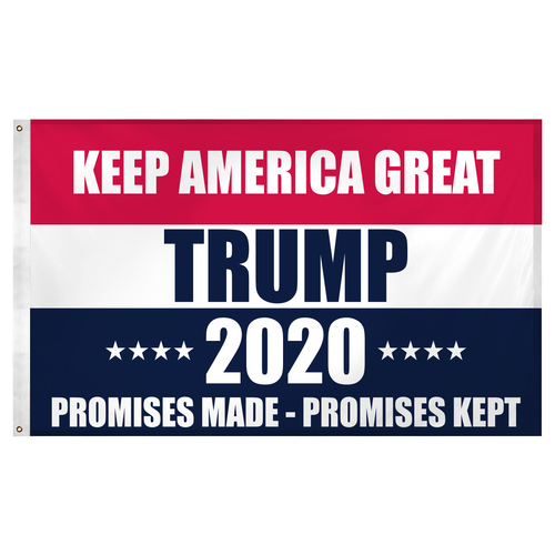 Promises Made Promises Kept 2020 Trump Flag 3ft x 5ft Super Knit Polyester