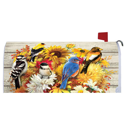 Fall Mailbox Cover - Fall Flowers & Birds