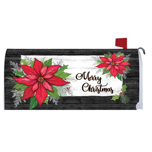Christmas Mailbox Cover - Poinsettia Christmas