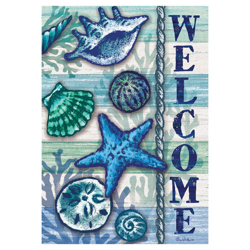 Summer Garden Flag - Welcome Shells