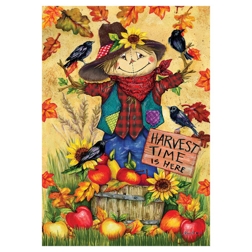 Fall Garden Flag - Scarecrow & Apples