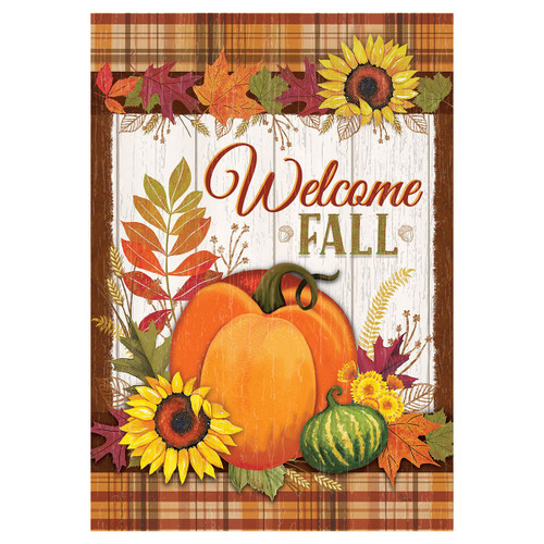 Fall Garden Flag - Pumpkin & Plaid