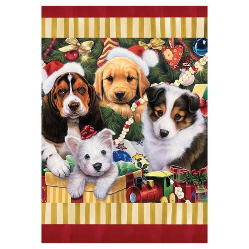 Christmas Garden Flag - Christmas Puppies