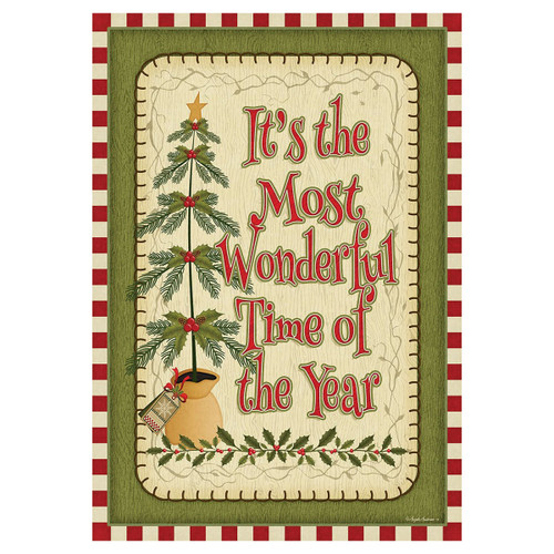 Christmas Garden Flag - Wonderful Time