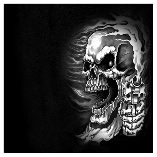 Hot Leather Front and Back Printed T-shirts - Assassin Skull