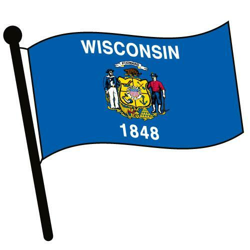 Wisconsin Waving Flag Clip Art - Downloadable Image