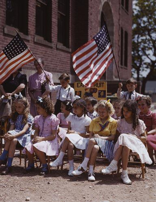 Photo of Children at Festival Holding American Flags - Downloadable Image