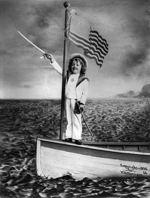 Child Sailor with American Flag Photo - Downloadable Image