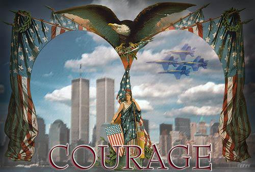 """American Flag Graphic Illustration entitled """"Courage"""" - Downloadable Image"""