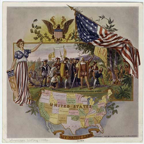 Discovery of America by Christopher Columbus in 1492 - Downloadable Image