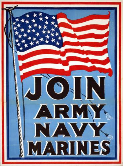 Join Army Navy Marines (WW I Poster) - Downloadable Image
