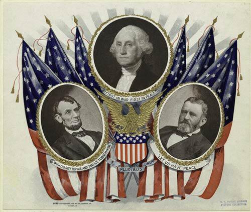 Portraits of presidents Lincoln, Washington, and Grant. - Downloadable Image
