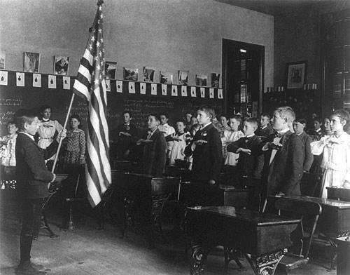 Pledge of Allegiance Photo with Child Holding an American Flag