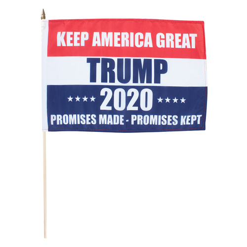 "Promises Made Promises Kept 2020 Trump  12"" x 18"" Stick Flag"