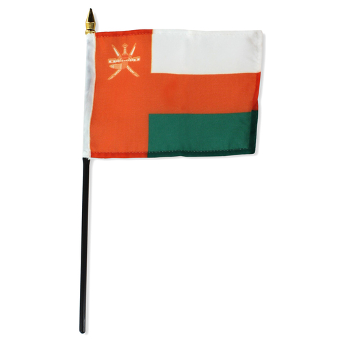 Oman 4in x 6in Stick Flag - Orange