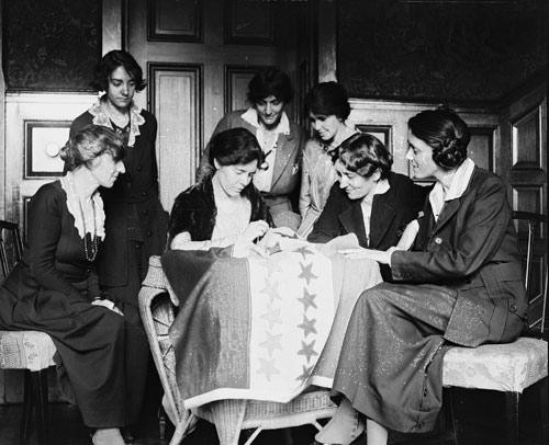 Women Sewing Stars on a Suffrage Flag
