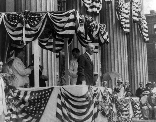Woodrow Wilson with American Flag Banners