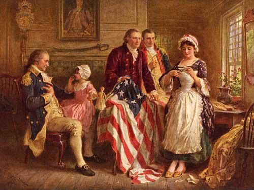 Betsy Ross Showing an American Flag Wallpaper 1024x768