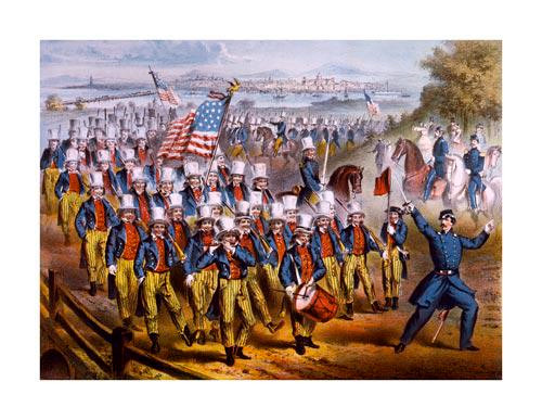 Yankee Volunteers Marching into Dixie 1862 Poster Art