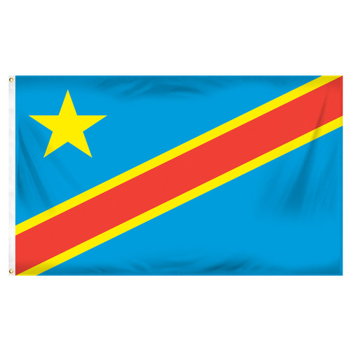 Congo Democratic Republic Flag 3ft x 5ft Printed Polyester