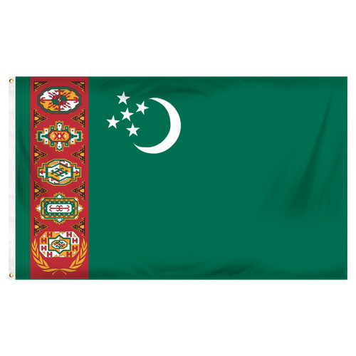 Turkmenistan Flag 3ft x 5ft Printed Polyester