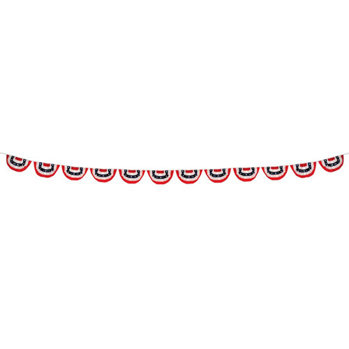 12 Panel Patriotic Pleated Fan Bunting String - 18""