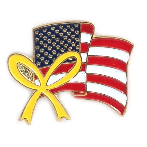 USA Flag Lapel Pin with Ribbon
