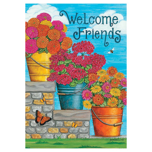 Welcome Banner Flag - Friends & Flowers