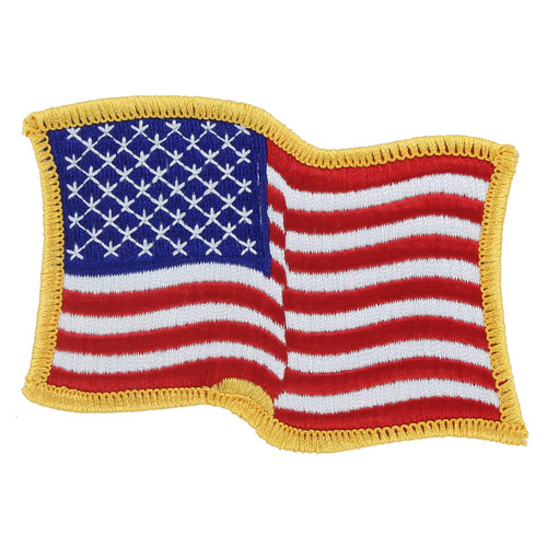 Waving American Flag Patch - Gold Border