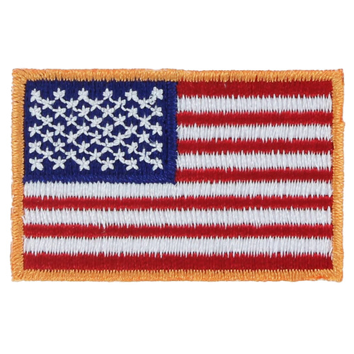 American Flag Patch - Gold Border - Left Star Field - 1.25in x 2in