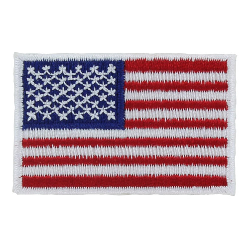 American Flag Patch - White Border - Left Star Field - 1.25in x 2in