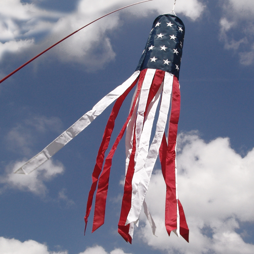 "Embroidered Patriotic Windsock - 8"" x 60"""