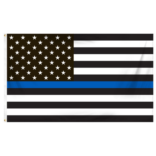 Thin Blue Line American Flag 3ft x 5ft Printed Polyester