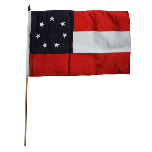 Confederate 1st National 12in x 18in Stick Flag