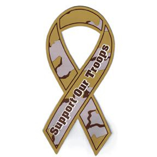 Support Our Troops Camo Ribbon Magnet
