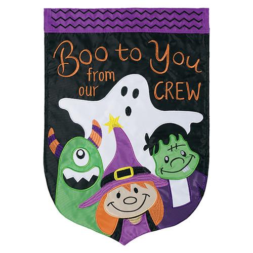 Halloween Applique Banner Flag - Boo Crew