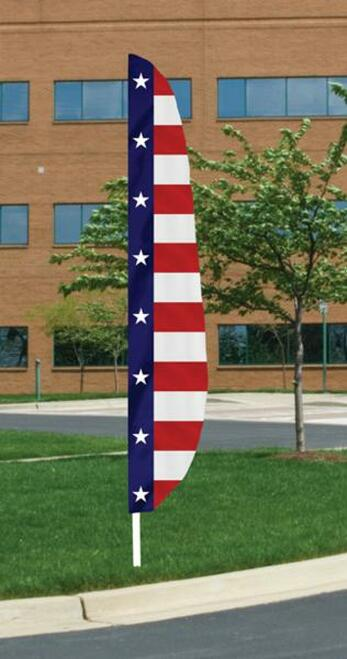 Feather Patriotic Banner Flag - Horizontal Stripes