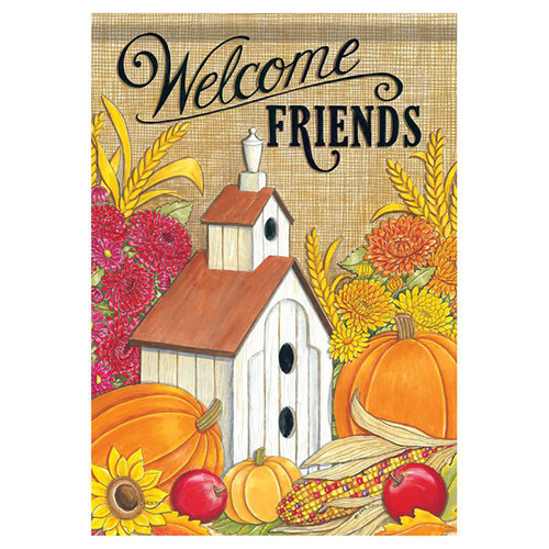 Fall Banner Flag - Welcome Friends Birdhouse