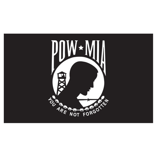 POWMIA Flag 12in x 18in Nylon with Grommets - Double Sided