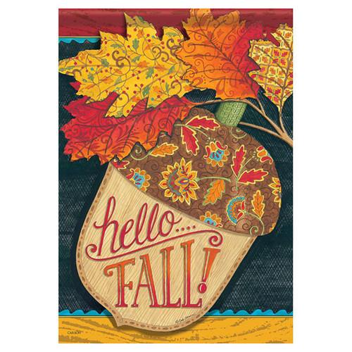Fall Banner Flag - Hello Fall Acorn