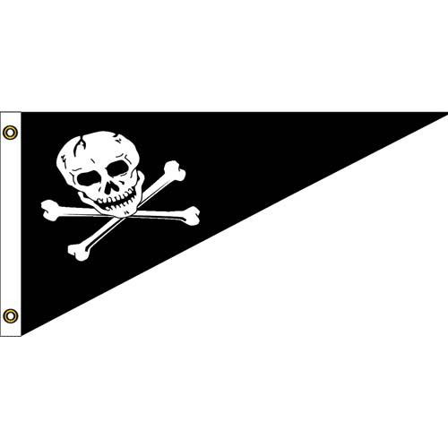 Pirate Nylon Bow Pennant Flag 10in x 15in