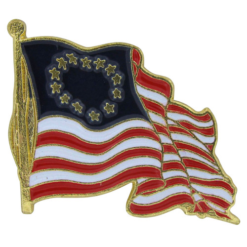 Waving Betsy Ross Flag Lapel Pin