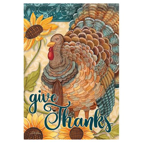 Thanksgiving Banner Flag - Sunflower Turkey