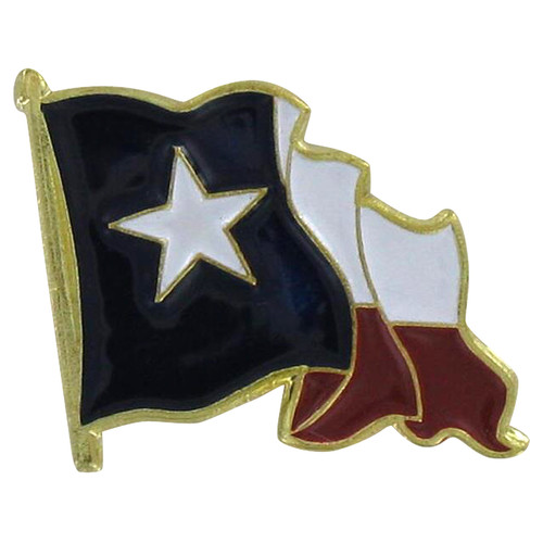 Waving Texas Flag Lapel Pin