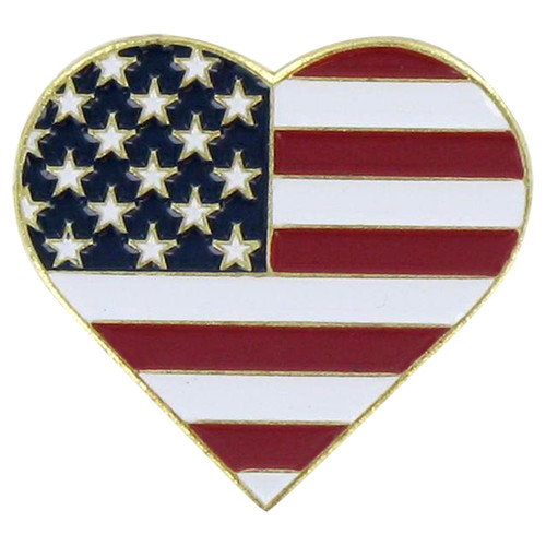 USA Heart Pin