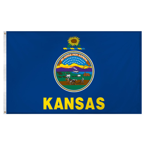 Kansas flag 3 x 5 feet Super Knit polyester