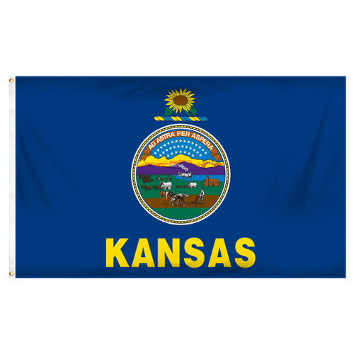 Kansas 3ft x 5ft Spun Heavy Duty Polyester Flag