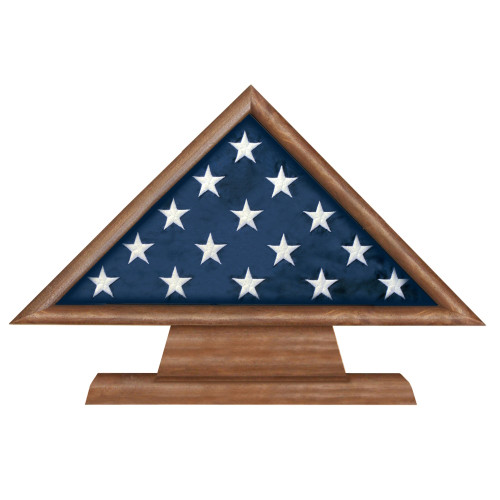 Walnut 3 X 5 Flag Memorial Case on Pedestal with Engraved Plate