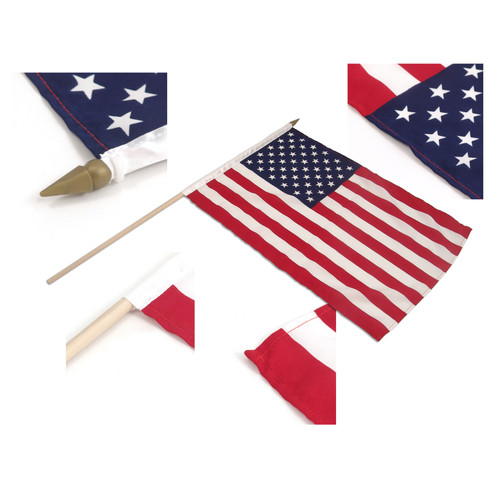 "US Stick Flag 12"" x 18"" with 24"" Wood Stick - Best Quality 12PK"
